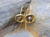 Nestle drop earrings - Smoky Quartz and 18ct gold